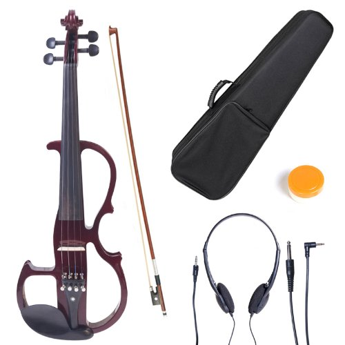 Cecilio 4/4 CEVN-2NA Solid Wood Mahogany Metallic Electric / Silent Violin with Ebony Fittings in Style 2 (Full Size) by Cecilio