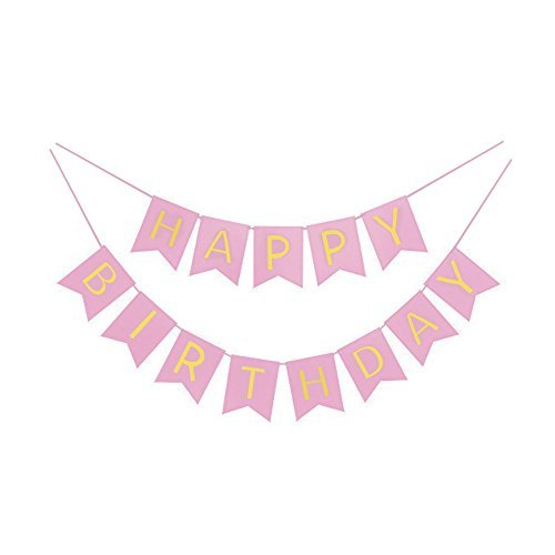 Birthday Pink Shimmer - Pink And Gold Foil Happy Birthday Bunting Banner. Pink And Gold Shimmer Hanging Birthday Party Decorations And Party Supplies