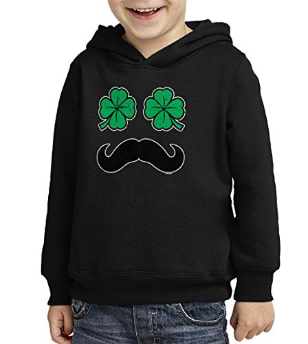 Four Leaf Clover Mustache - Face Toddler/Youth Fleece Hoodie (Black, X-Small (Youth))