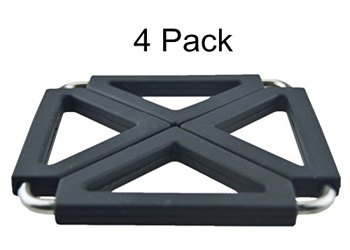 ERollDeep Silicone Expandable Trivet Mat / Hot Pot Holder Pad(4 Pack)