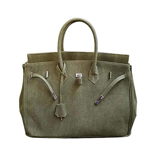Fashion Women Canvas Handbag Bag Military Green Thicken Large Capacity Totes Lock,Army green,30cm width]()