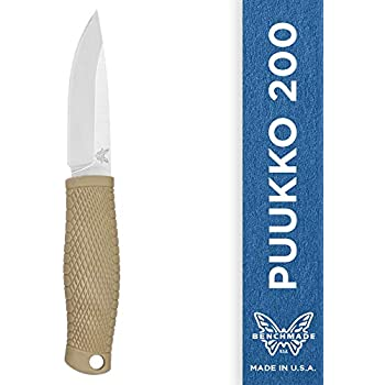 Benchmade - Puukko 200 Fixed Bushcraft Knife Made in USA with Leather Dangler Loop Sheath with Buckle, Drop-Point Blade, Plain Edge, Satin Finish, ...