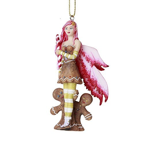 Pacific Giftware Christmas Fairy with Gingerbread Men Hanging Ornament Amy Brown Holiday Collection Christmas Tree Hanging Ornaments 4 inch