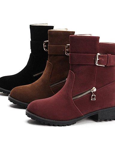 Cn39 Vestido Eu39 Xzz Rojo Casual Brown Botas 5 Negro Tacón Mujer Marrón Eu42 Cn43 Zapatos Robusto Uk8 us10 Moda Uk6 us8 5 Brown Vellón Punta La Redonda De A PqAfFP