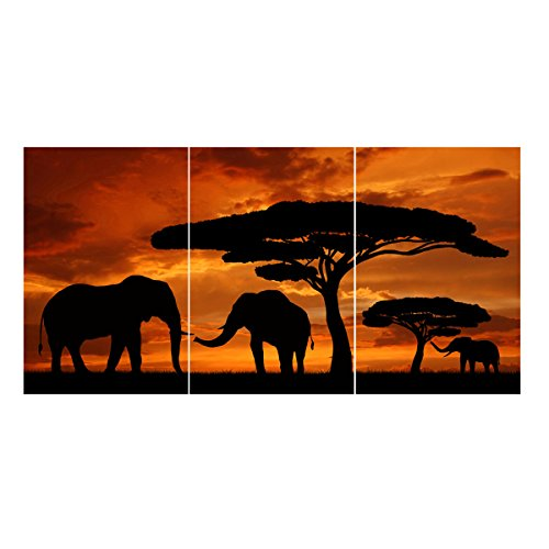 Yesurprise Canvas Prints 3 Panel Modern Painting Picture Poster Contemporary Artwork Wall Art Decor for Living Room Bedroom Sunset African Savannah Elephants (No - Mall Savannah In