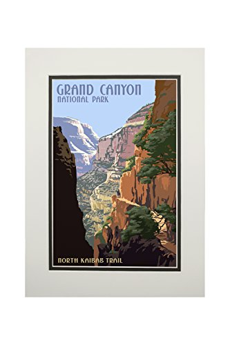 Grand Canyon National Park, Arizona - North Kaibab Trail (11x14 Double-Matted Art Print, Wall Decor Ready to Frame)