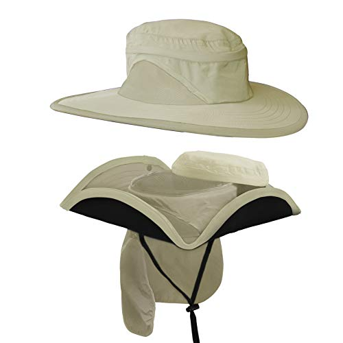 Shape Flexer Sunhat (Shape-able, Crush-able, Fold-able, Ultra Wind Resistant) (Sahara Khaki, L/XL)