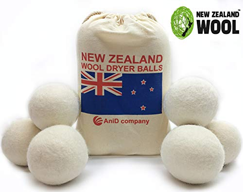 Smart Reusable Wool Dryer Balls from New Zealand - Organic Alternative to Dryer Sheets & Fabric Softener - Pack of 6 Anti Static Balls-Ideal Gift for Moms- Reduces Drying Time and Whips Fluff