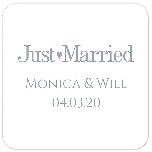 Personalized Wedding Coasters (Just Married Foil Personalized Beverage Cocktail Coasters - Canopy Street - 50 Custom Printed Square Paper Coasters)