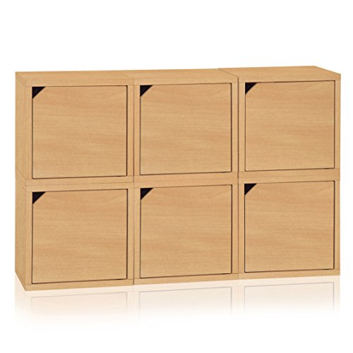 Way Basics Eco Stackable Connect 6 Cube Storage with Doors, Natural Wood Grain (made from sustainable non-toxic zBoard (Basic Side Load Stackable)