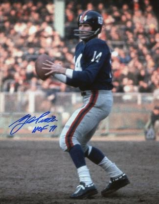 (Signed Y.A. Tittle Picture - YA Blue Jersey Passing Vertical 8X10 HOF 71 - Autographed NFL Photos)