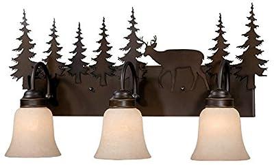 Vaxcel USA VL55403BBZ Bryce 3 Light Rustic Bathroom Vanity Lighting Fixture in Bronze, Glass