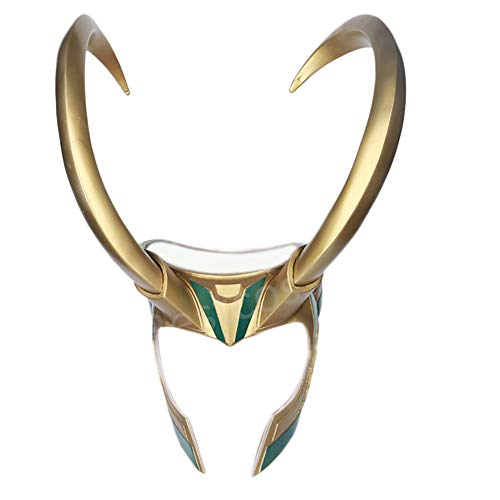 JCvCX Loki Cosplay Mask Removable Golden Horns -
