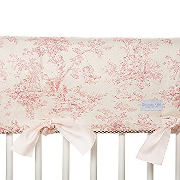 Glenna Jean Isabella Convertible Crib Rail Protector, Pink/Green/Cream, Long