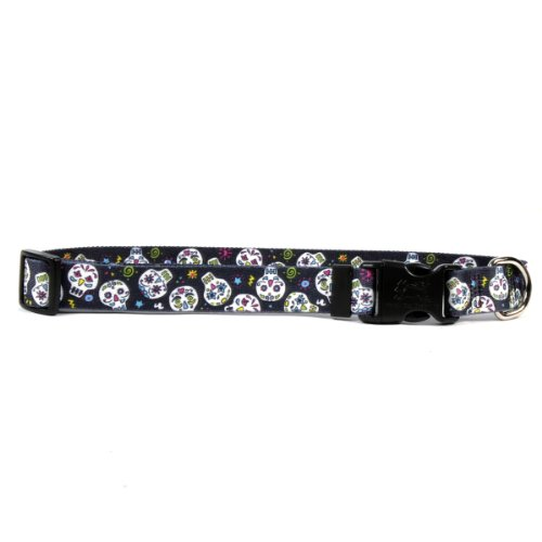 Yellow-Dog-Design-Sugar-Skulls-Black-Dog-Collar-with-Tag-A-Long-ID-Tag-System