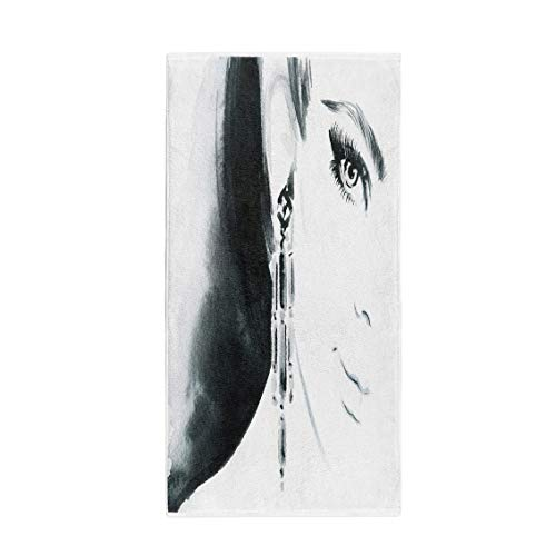 Semtomn 14 x 30 Inches Bath Towel Watercolor Beautiful Woman Face Jewelry and Beauty Hairstyle Adult Soft Absorbent Travel Guest Decor Hand Towels Washcloth for Bathroom(One Side Printing)