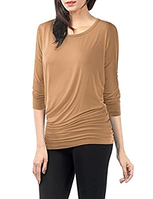 Plus Size Drape Top Side Shirring Dolman Sleeve Basic Jersey Tops