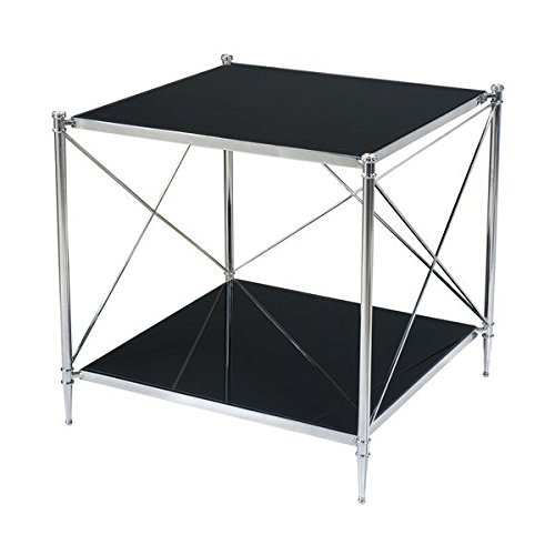 Mid Century Modern Style Stainless Steel and Black Glass Side Table, modern take on a 19th century Regency style table ()