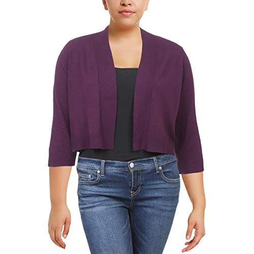 Cardigan Ribbed Klein Calvin (Calvin Klein Womens Plus Ribbed Trim Open Front Shrug Sweater Purple 2X)