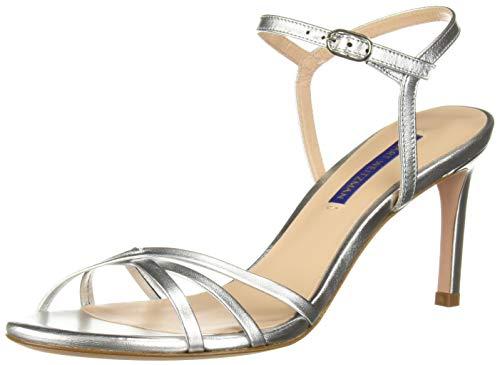 (Stuart Weitzman Women's Starla 80 Sandal, Silver Metallic Nappa, 9 Medium US )