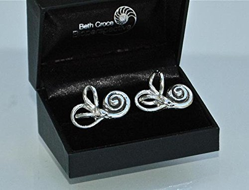 BALANCE Anatomical Inner Ear (cochlea and semi-circular canals) Cufflinks in Sterling Silver