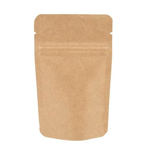 AwePackage Heavy Duty Kraft Paper Self Standing Resealable Zipper Pouch Bags (1 oz- 16 oz) - FDA and USDA compliant (50, 1 Oz)