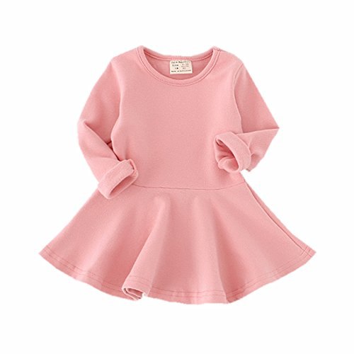 Infant Toddler Baby Girls Dress Pink Ruffle Long Sleeves Cotton (3-4Year(4T), Pink)