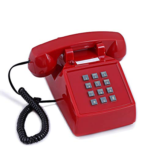 Old Style Retro Desk Phone Sangyn 1980'S Classic Vintage Single Landline Telephone with Push Button Numbers,Red