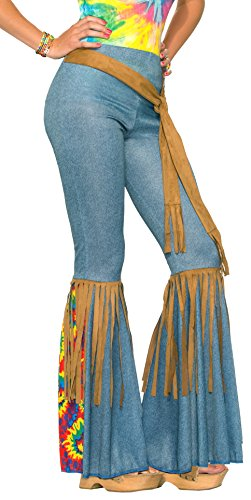 Forum Novelties Women's Hippie Costume Bell Bottoms, Blue/Brown, Medium/Large (1970s Bell Bottom Pants)