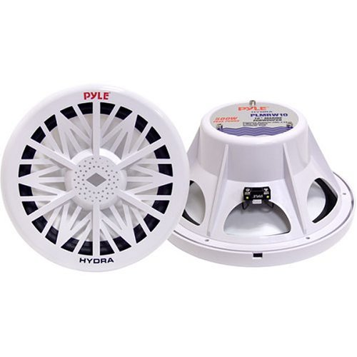 Single Outdoor Marine Audio Subwoofer - 500 Watt 10 Inch White Waterproof Bass Loud Speaker For Marine Stereo Sound System, Under Helm or Box Case Mount in Small Boat, Marine Vehicle - Pyle PLMRW10 (Pyle Tube Subwoofers)