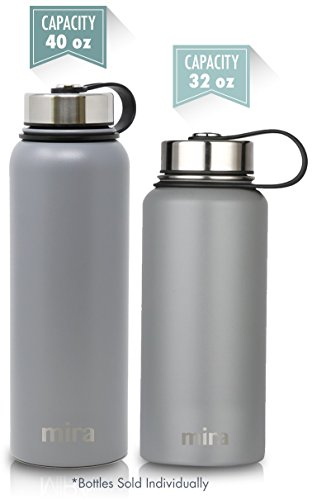 MIRA 32 oz Stainless Steel Vacuum Insulated Wide Mouth Water Bottle | Thermos Keeps Cold for 24 hours, Hot for 12 hours | Double Wall Powder Coated Travel Flask | Gray, 32 oz