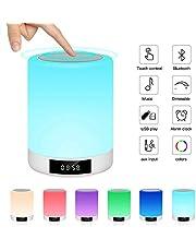 Ranipobo Nachtlampje met bluetooth-luidspreker, touch-sensor, nachttafellamp met wekker, MP3-muziekspeler, FM-radio, ledlamp met dimbare warme lampen, 7 kleuren kinderen