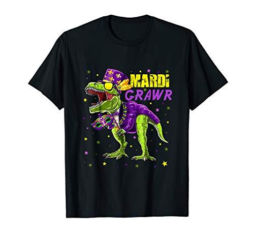 Kids Mardi Gras Shirt Dinosaur T Rex Beads Costume Grunge]()