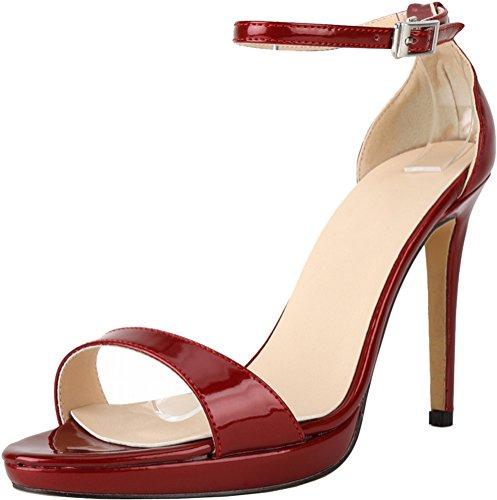CFP - Zapatos con tacón mujer Vino Rojo