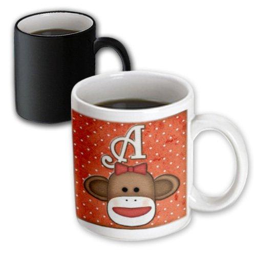 3dRose Cute Sock Monkey Girl Initial Letter A Magic Transforming Mug, 11-Ounce