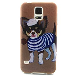 Galaxy S5 case, JAHOLAN Cute Smoke Dog Clear Bumper TPU Soft Case Rubber Silicone Skin Cover for Samsung Galaxy S5 i9600 (Not for S5 Mini)