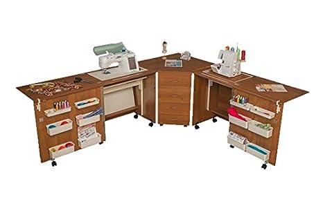 Cómodo 6 - Máquina de coser Overlock armario de almacenamiento acolchado patchwork Hobby Craft mesa L (Air-lifter to 15kg) Beech Ellmau: Amazon.es: Hogar
