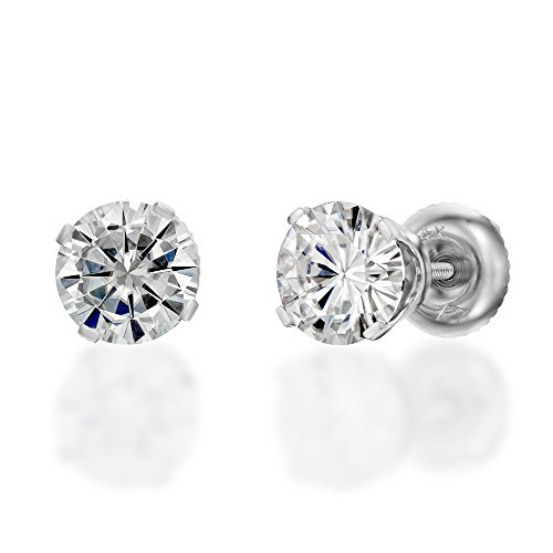 Moissanite Forever One Classic Stud Earrings in 14k Gold 6.5MM D-F VVS (Equivalent 2 CTTW Diamond Weight)