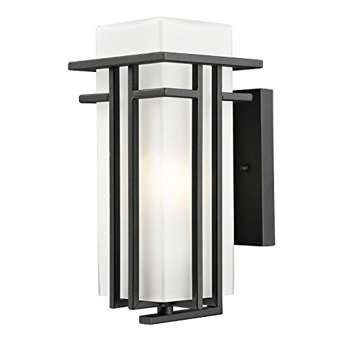 - Z-Lite 549S-BK Outdoor Wall Light with Matte Opal shade, Aluminum Frame