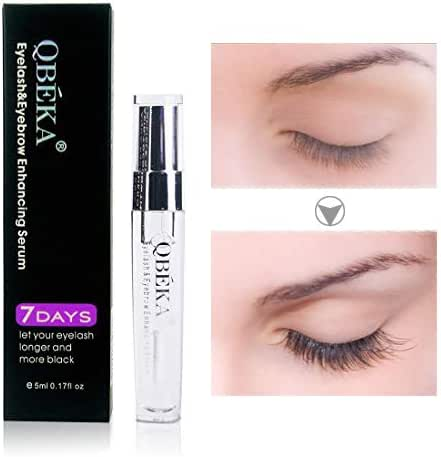 QBEKA Eyelash Growth Serum, Lash Serum, Eyelash Extensions Serum Liquid, Natural Advanced Eyelash Conditioner - for Lash Boost, Longer Fuller Thicker Eyelash and Eyebrow Growth Serum,5ml 0.17 fl oz