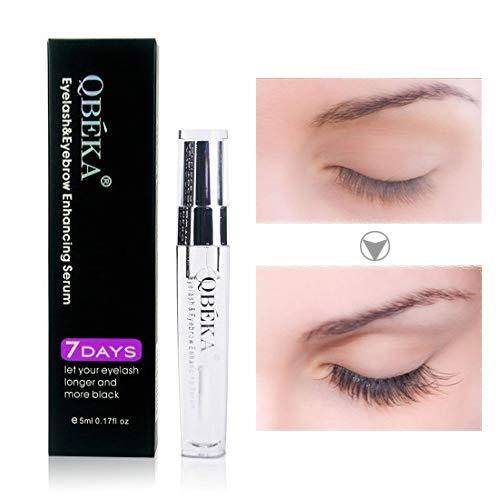 QBEKA Lash Serum Eyelash Growth Serum for Lash Boost Longer Fuller Thicker Eyelash and Eyebrow Growth Serum Liquid Natural Growth Stimulator 5ml 0.17 fl oz