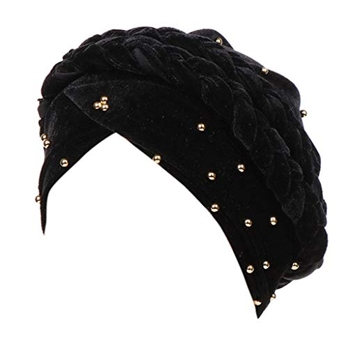 XILALU Women Beading India Hat Muslim Cancer Chemo Beanie Turban Wrap Cap Black]()