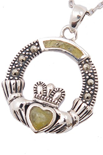 Chain Marcasite Jewelry - Claddagh Sterling Silver Pendant with Marcasite & Irish Connemara Green Marble w/ 18