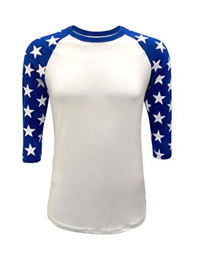 - ILTEX Mens Raglan 3/4 Star Sleeves T-Shirt (Small, White/Royal-Blue)