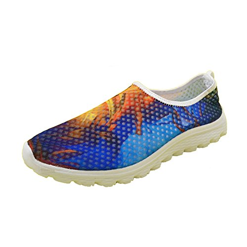 U Running Blue Print Women's Shoes Pigment Mesh FOR Casual DESIGNS Colorful Walk 7dSqnUOw