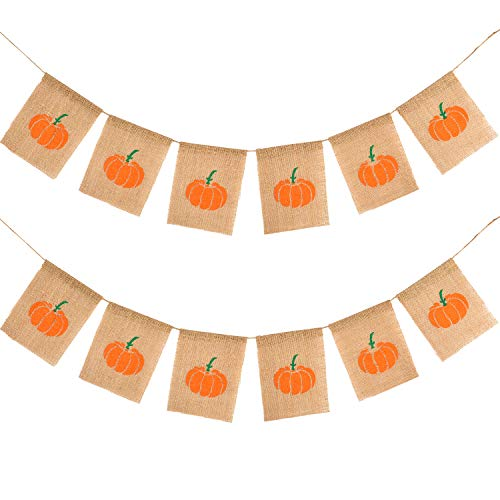 Boao 2 Sets Halloween Burlap Banner Thanksgiving Day Pumpkin Banner Harvest Bunting Garland for Home, Party, Festival Decoration