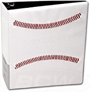 """White Stitched Baseball Card Collectors 3-Ringed Album with 3"""" D-"""