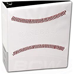 """White Stitched Baseball Card Collectors 3-Ringed Album With 3"""" D-Rings"""