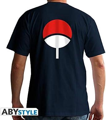 ABYstyle - Naruto Shippuden - Camiseta - Uchiwa - Hombre - Azul (S): Amazon.es: Ropa y accesorios