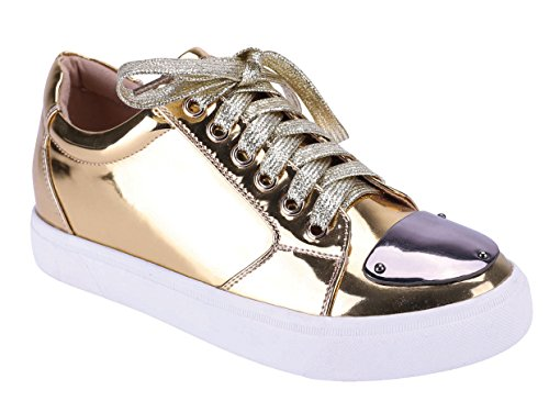 Cambridge Select Dames Lage Top Gesloten Ronde Neus Veter Lace-up Platte Vorm Fashion Sneaker Goud